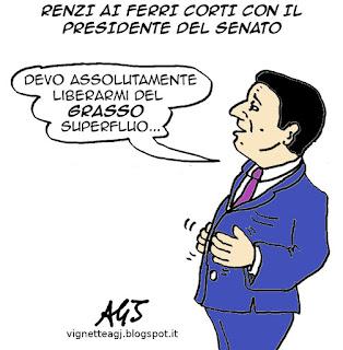 Renzi, Grasso, Senato, vignetta satira