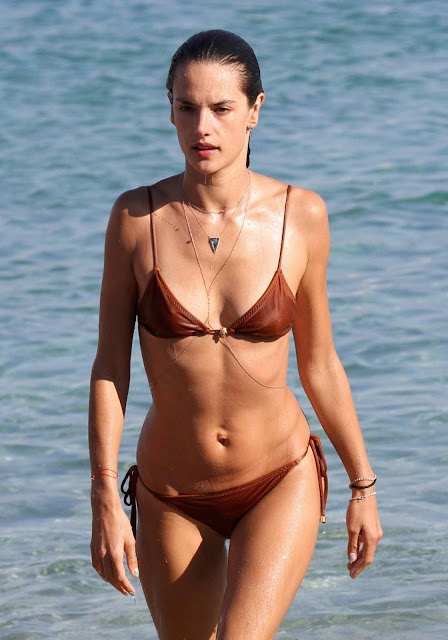 Alessandra Ambrosio Brown Bikini Candids In Greece