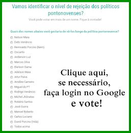 Nível de rejeição dos políticos pontonovenses. Clique na imagem, faça login (se necessário) e vote!
