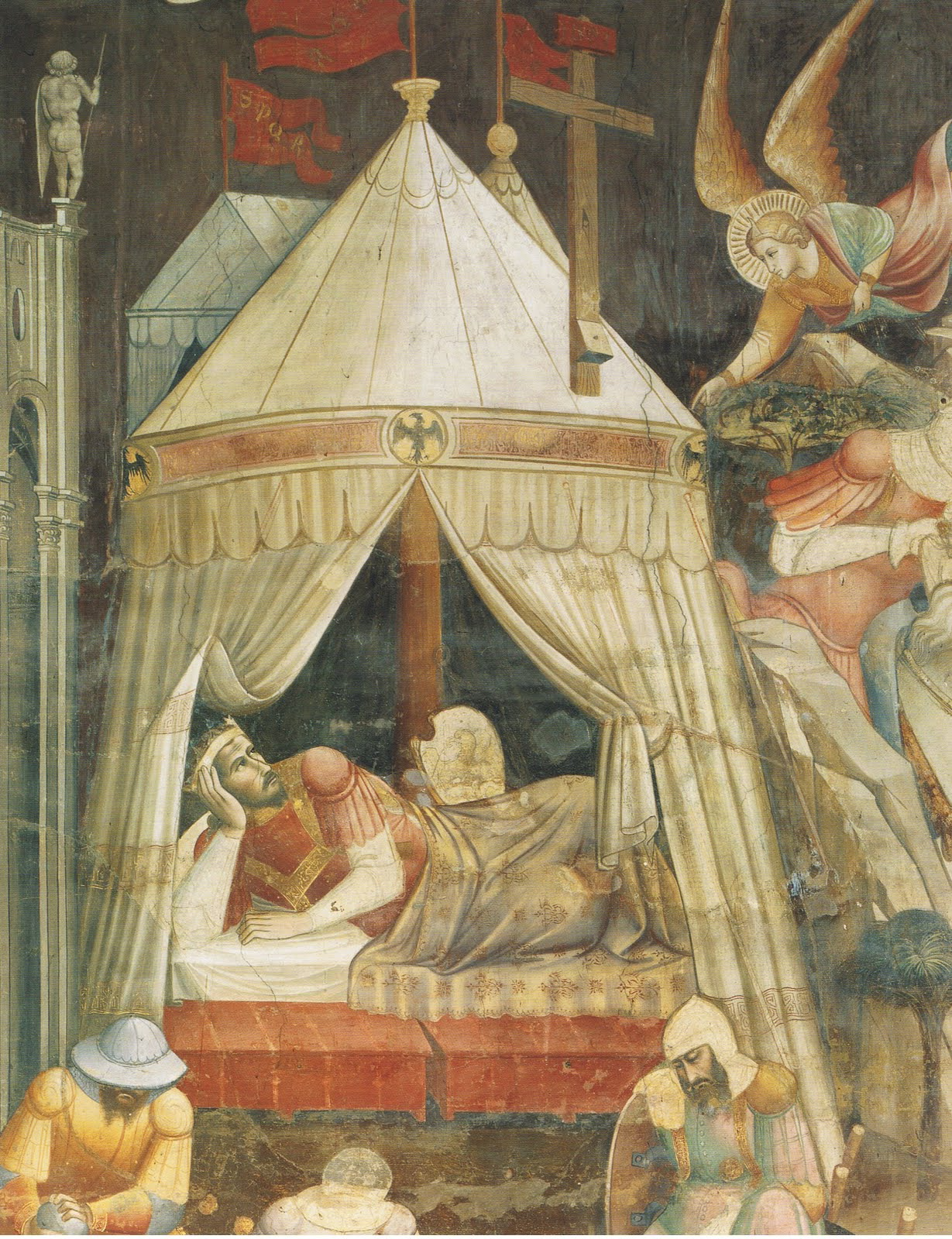Agnolo Gaddi The Dream of Emperor Heraclius ca. 1385-87. A rectangular tent with a vertical end wall is visible behind the emperoru0027s pavilion. & A Commonplace Book: Rectangular Medieval Tents
