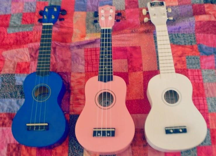 Three Ukuleles Colour Pastels Blue Pink White My 1st Years White Personalised Ukulele Free Luxury Gift box