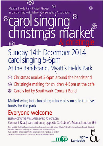 Myatts Fields Park carol singing 14 Dec 2014 flyer