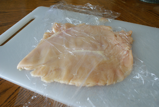 Pond chicken between plastic wrap until ¼ inch think