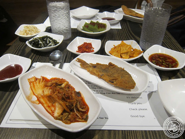 image of banchan at BCD Tofu House in Korea Town NYC, New York