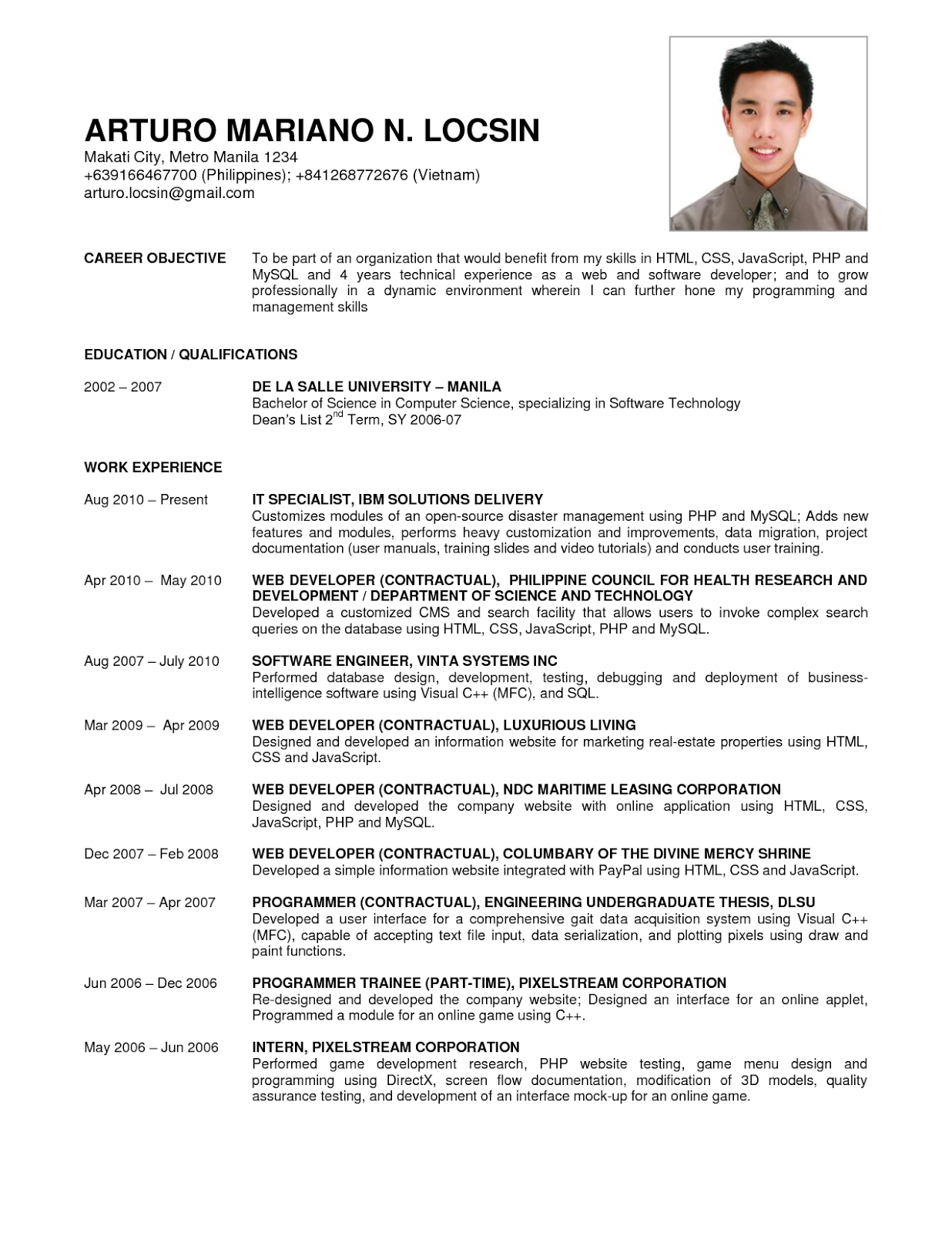 Good resume examples for jobs