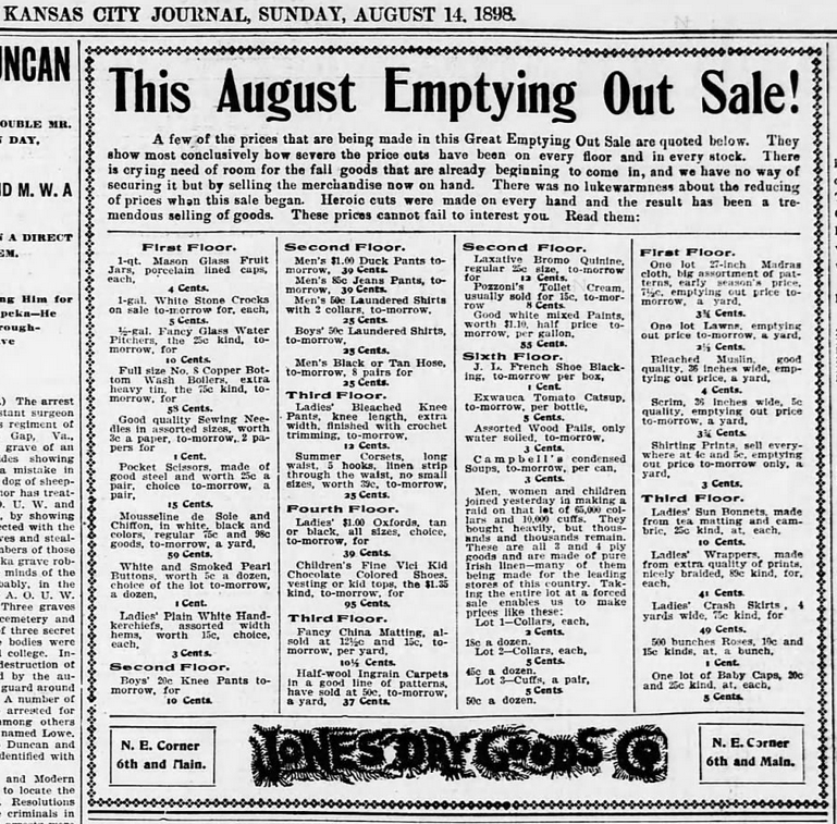 Kansas City Journal (Kansas City, MO) Advertisement for Jones Dry Goods with Campbell's Condensed Soups being sold at a discounted price - 1898-08-14