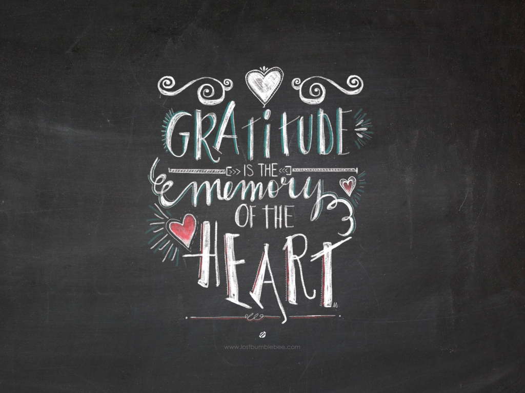 LostBumblebee ©2014- Handlettered by Melissa- Gratitude is the memory of the heart - Personal Use Only.