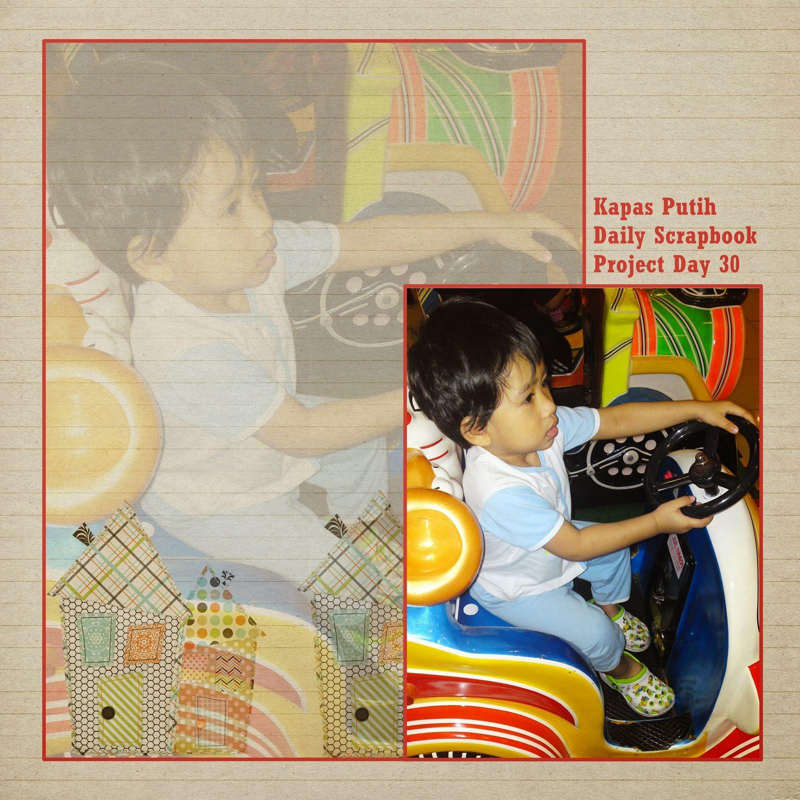 Asyraf ride a machine car