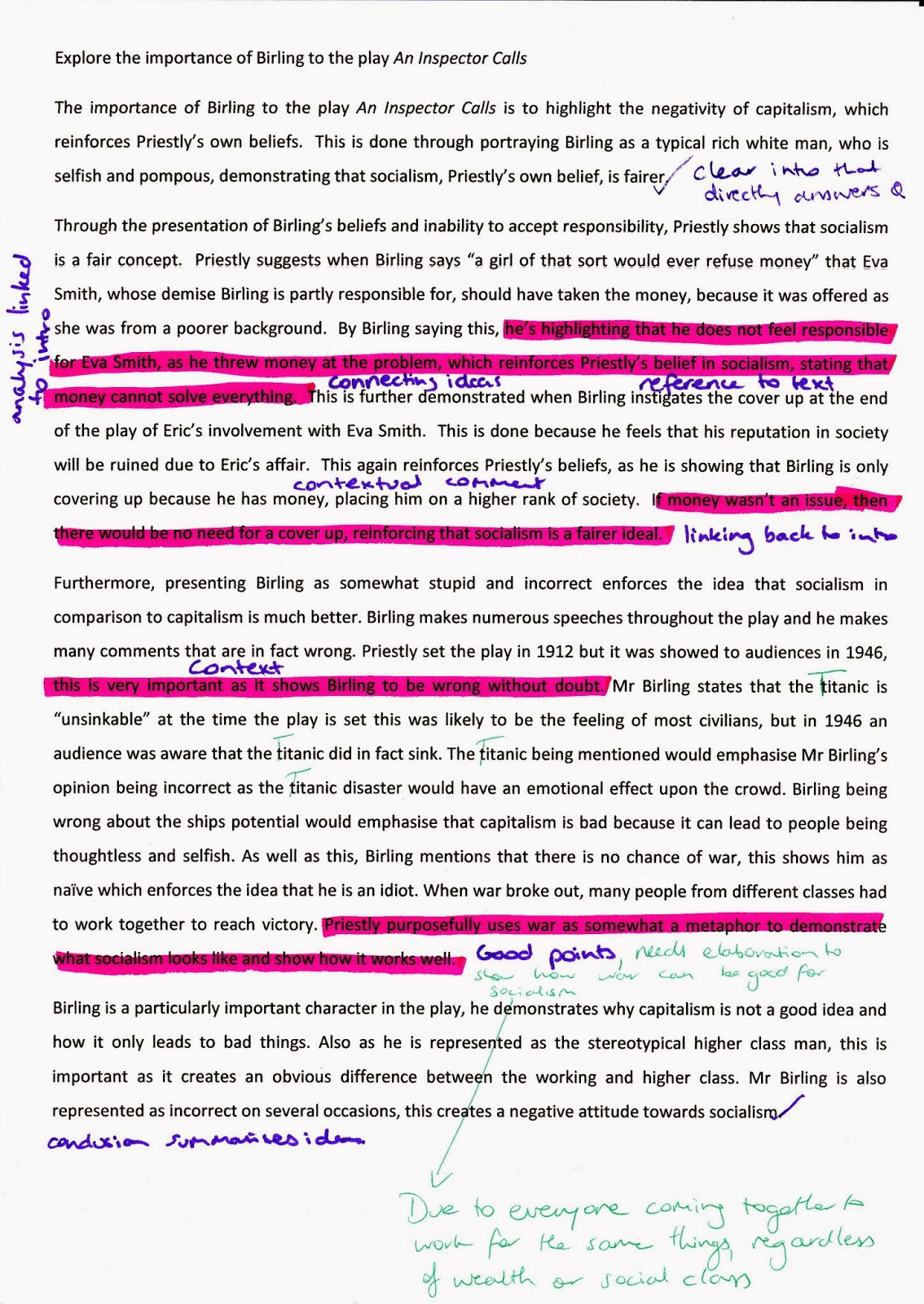 the inspector calls essay english literature mr birling good short  english literature mr birling while it makes various references to context the reference to language is