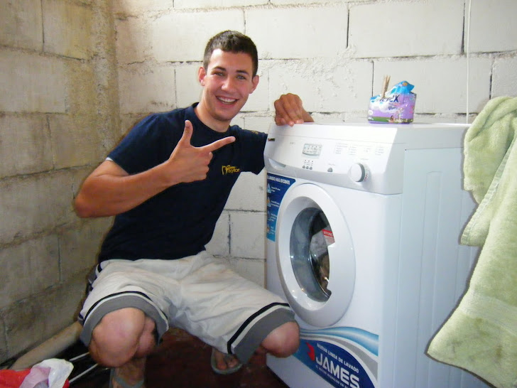 DJ with his new washer