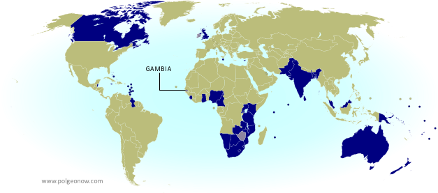 Map of current and former member countries of the Commonwealth of Nations (British Commonwealth) as of 2014, marking the Gambia, which recently withdrew from the organization (colorblind accessible).
