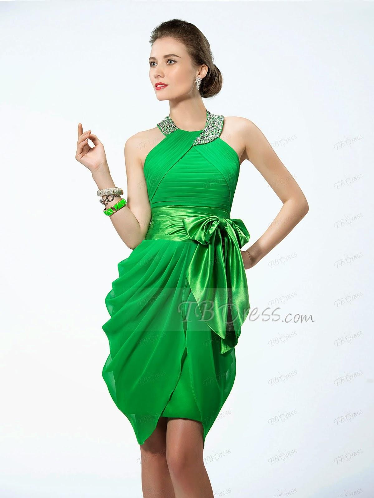 Halter Neckline Studded Belt Bowknot Short Cocktail Dress