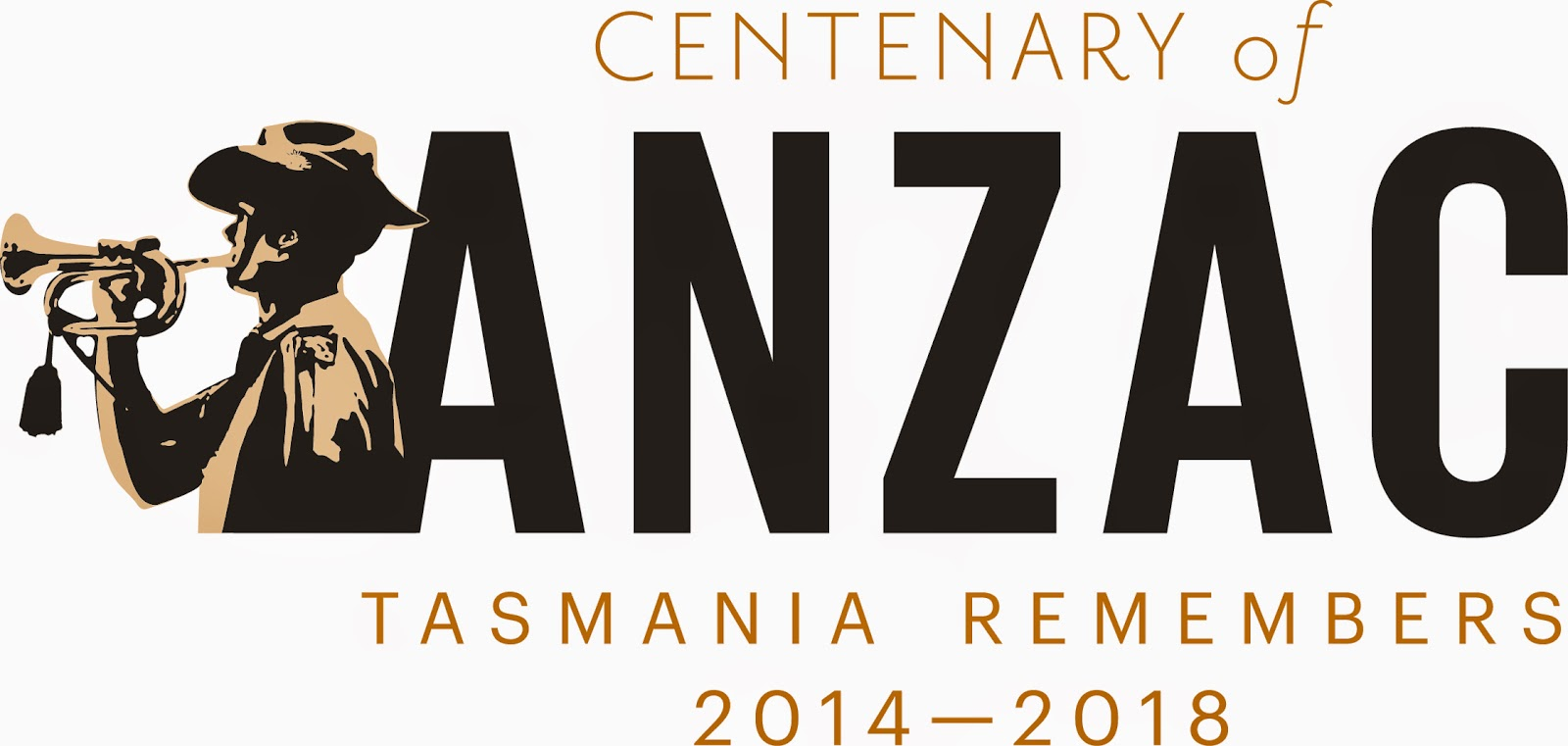 "Text ""Centenary of ANZAC Tasmania Remembers 2014-2018"" with image of soldier playing bugle"