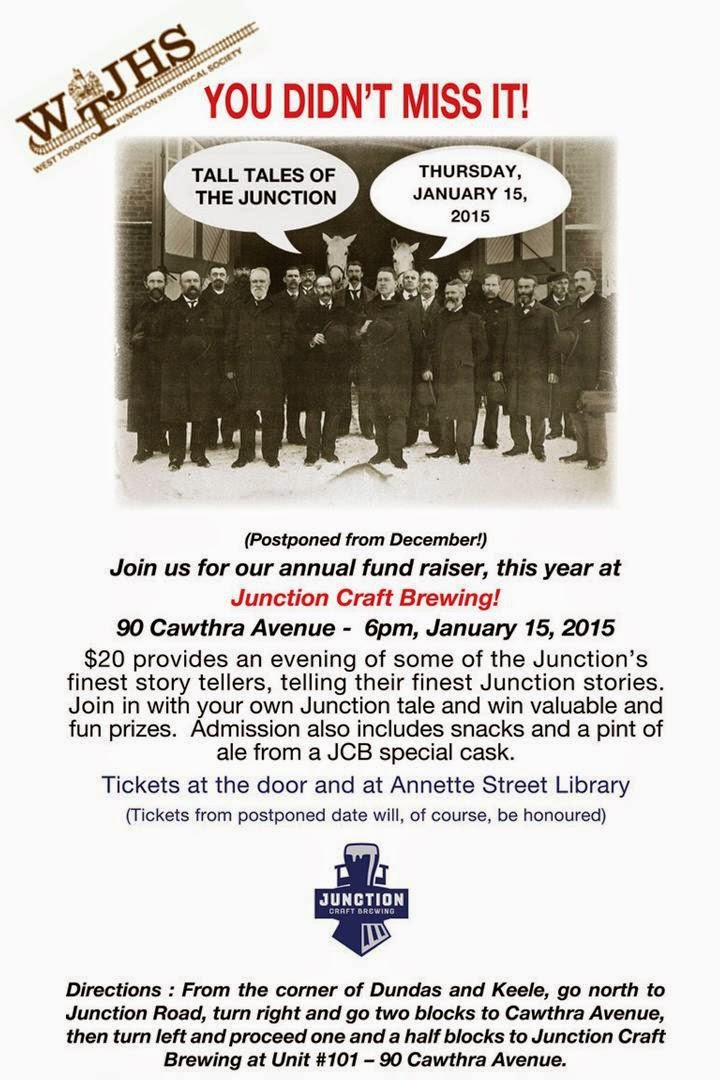West Toronto Junction Historical Society FUNdraiser January 15, 2015: Tall Tales Of The Junction at Junction Craft Brewery