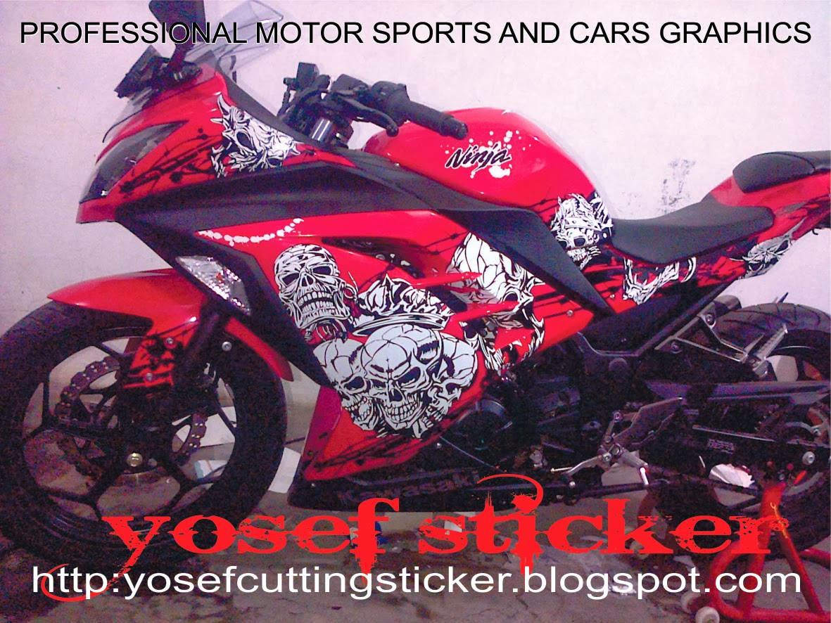Cutting Sticker Ninja 250 Fi Skull Red By Yosef Sticker