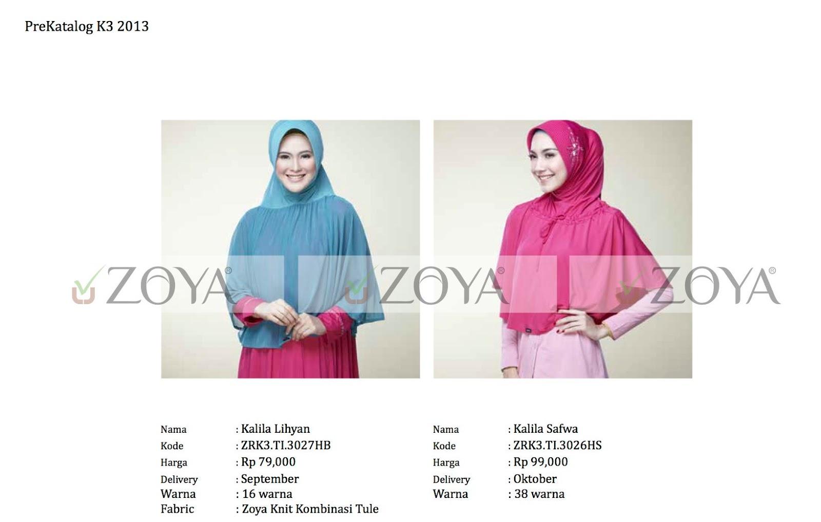 Katalog Harga Jilbab Zoya Terbaru Periode September Nopember 2013