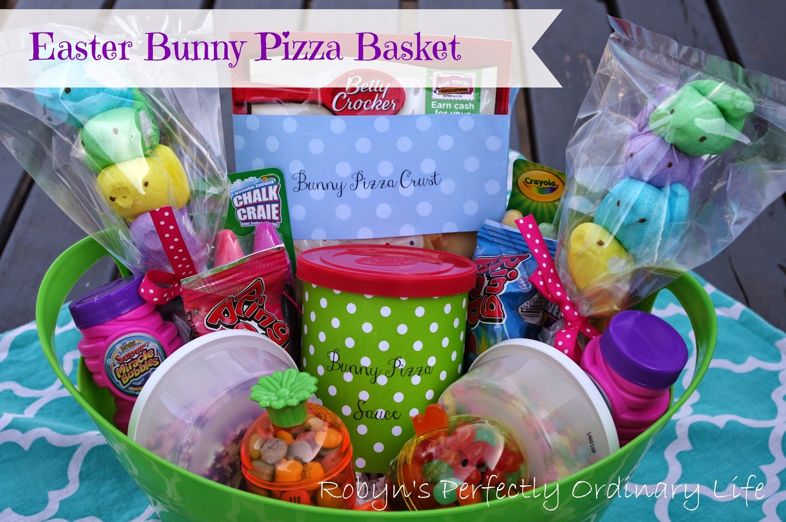 Robyn's Perfectly Ordinary Life: Easter Bunny Cookie Pizza Basket