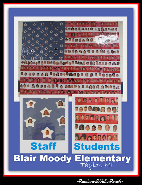 photo of: Flag image of photos of students, Patriotic projects