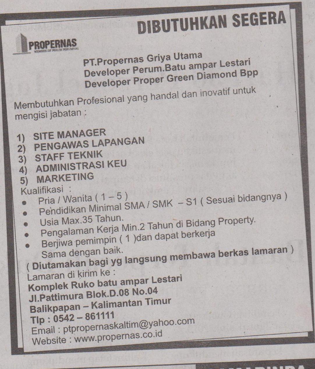 Info Lowongan Kerja Kaltim Juni 2013 PT Propernas Griya Utama. Portal