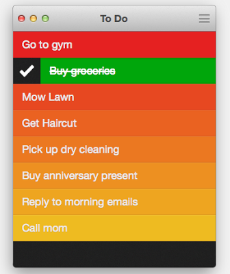 one screen of the Clear app for managing to-do lists