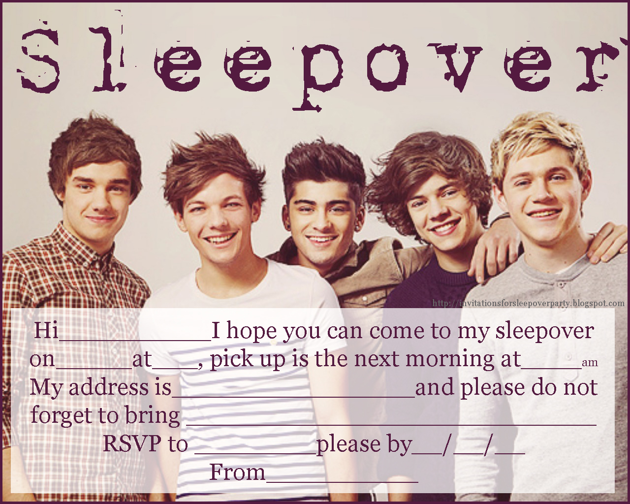 40th birthday ideas: one direction birthday invitation templates free, Printable invitations