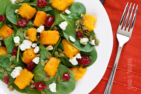 salata and pomegranate seeds honey thyme roasted butternut squash ...