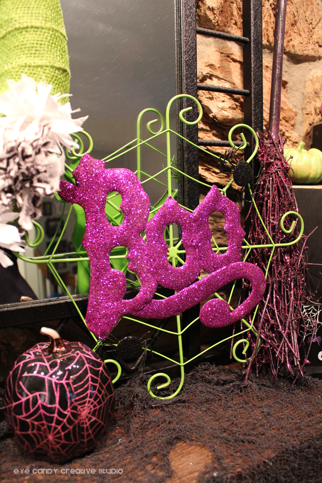 spider web, Boo sign, witch's broom, purple halloween mantel