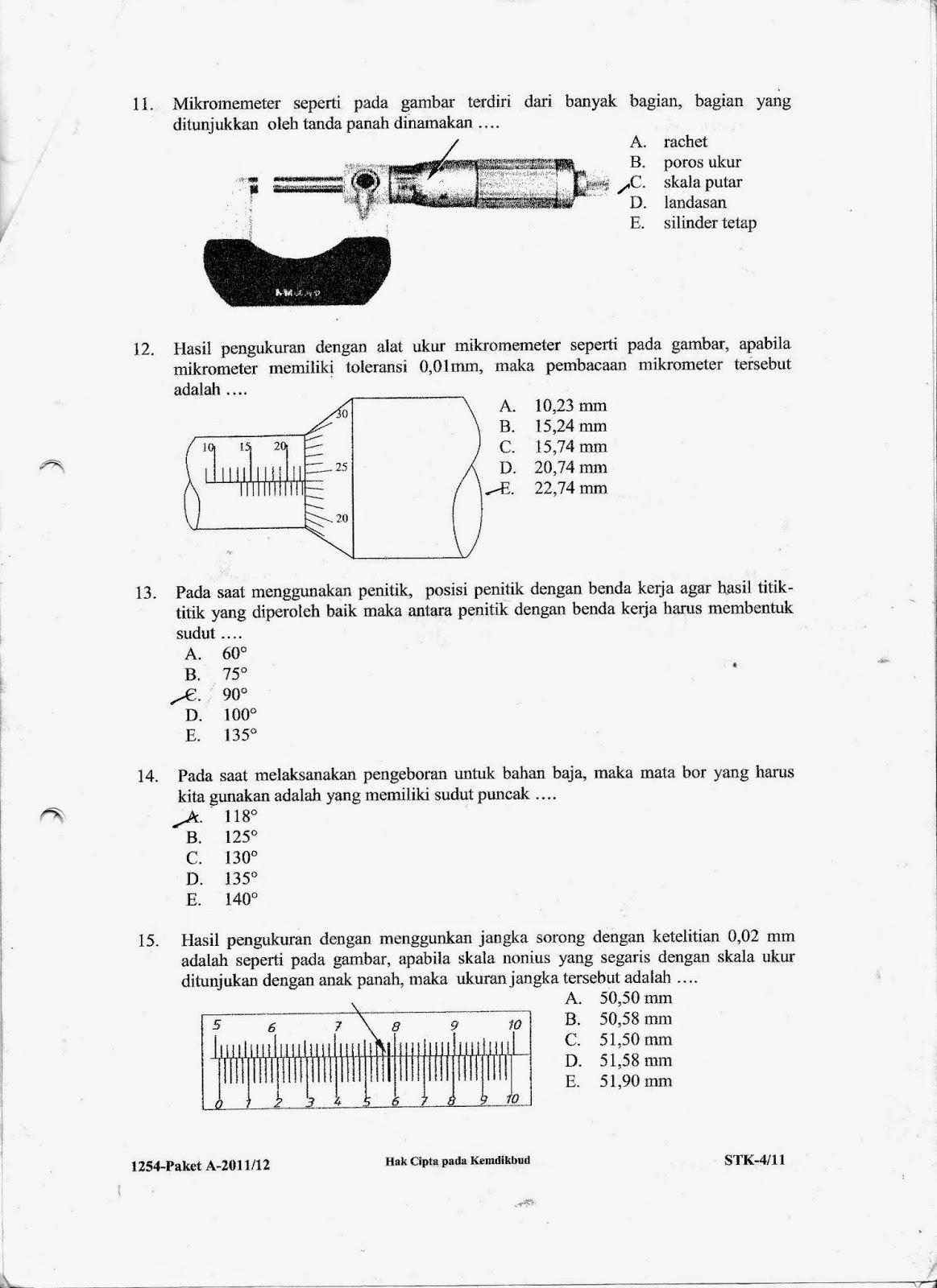 Soal Ujian Nasional Kejuruan T Pemesinan Tahun 2011 2012 Izza A R