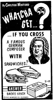 Whatcha' get if you cross a famous German composer with sandwiches Bach's lunch