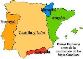 Reinos Hispanos antes de la unificacion de los Reyes Catolicos