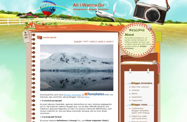 Free Vector Travel Blue Blogger Layout Template
