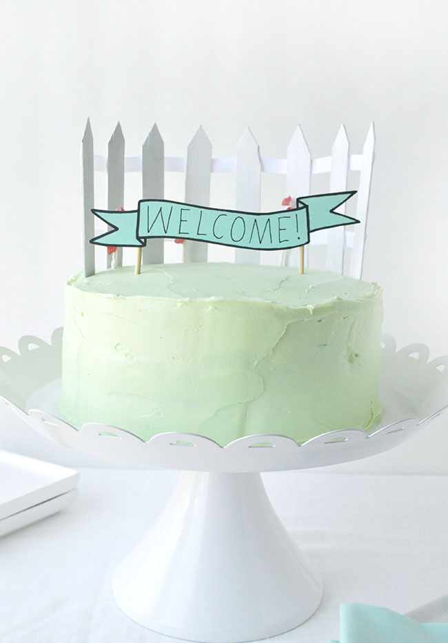 White Picket Fence Cake Topper
