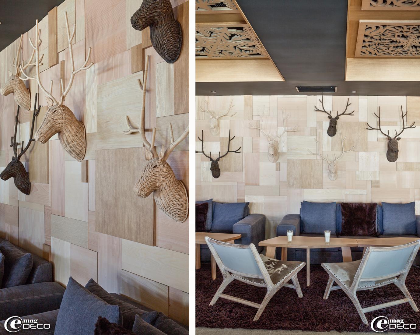 Têtes de cerfs en osier en guise de trophées de chasse, créations 'Un brin d'osier' à Carpentras, exposées dans l'hôtel 'Altapura' à Val Thorens