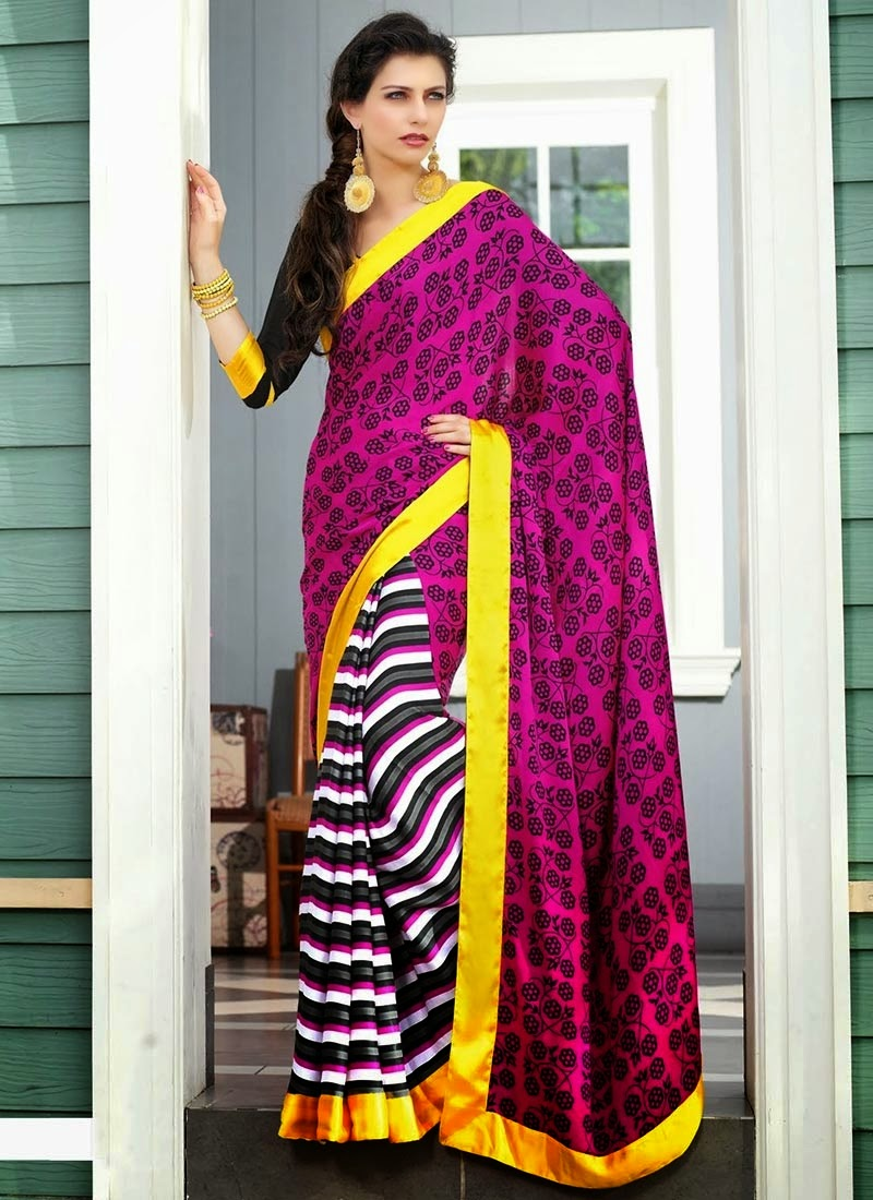 stripe patterns half saree