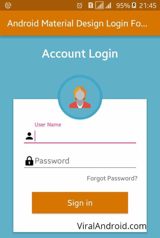 Android Material Design Login Form XML UI Design | Viral Android ...