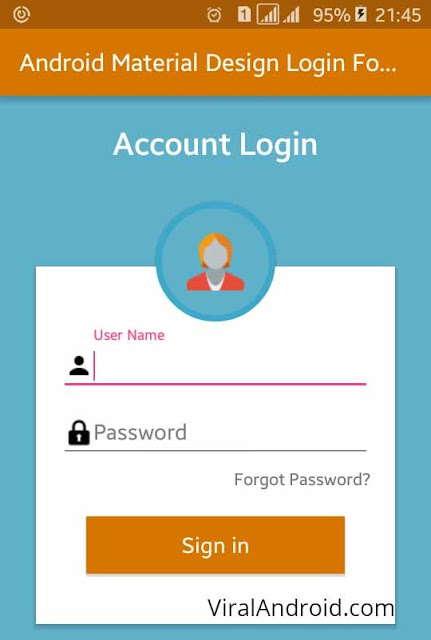Android Example: Android Material Design Login Form XML UI Design