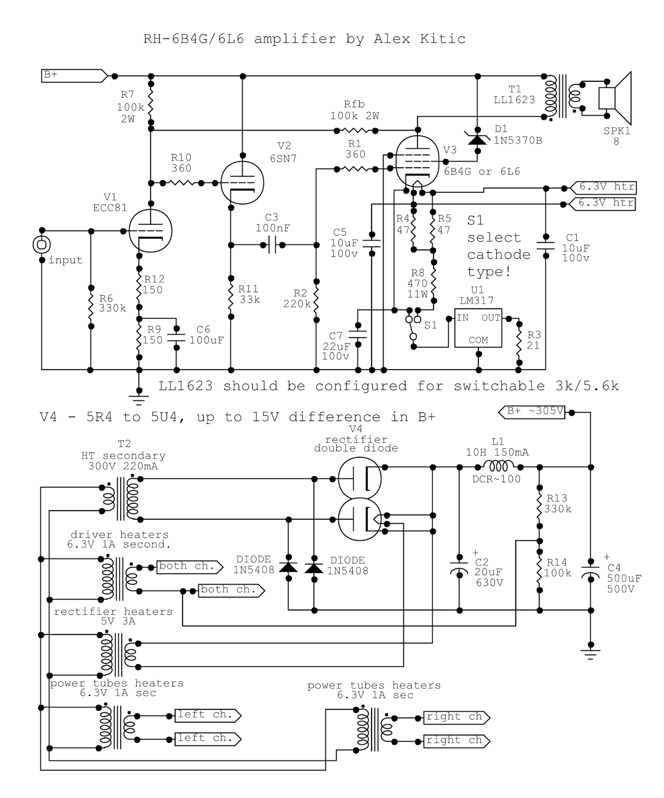Rh Amplifiers Rh2a3 An Amplifier With A Twist The Circuit Connections Are Pretty Straightforward And Basic Besides 63v Heater Windings For Output Tubes 6l6 Types Draw 09v Which Is Almost Identical To 1a Drawn By 6b4g Main Difference
