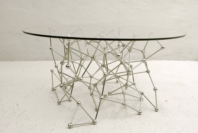 Molecular Coffee Table with silver leaf finish