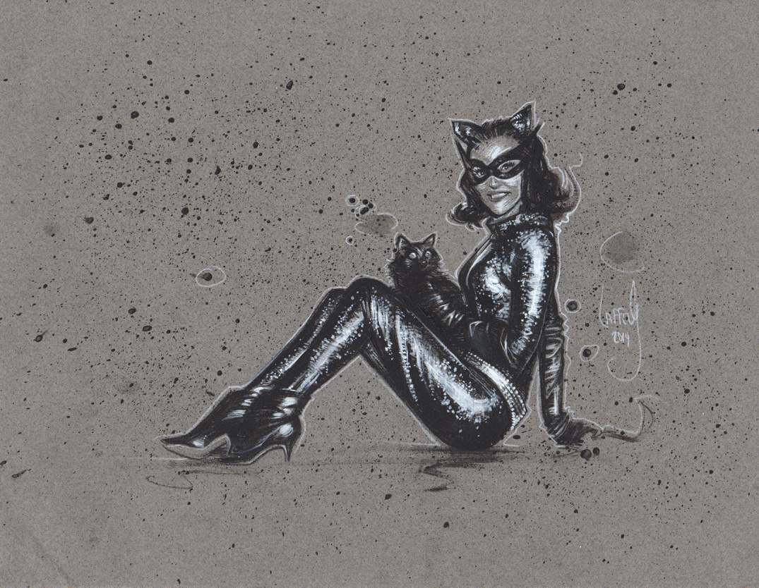 Lee Meriwether as Catwoman, Artwork is Copyright © 2014 Jeff Lafferty
