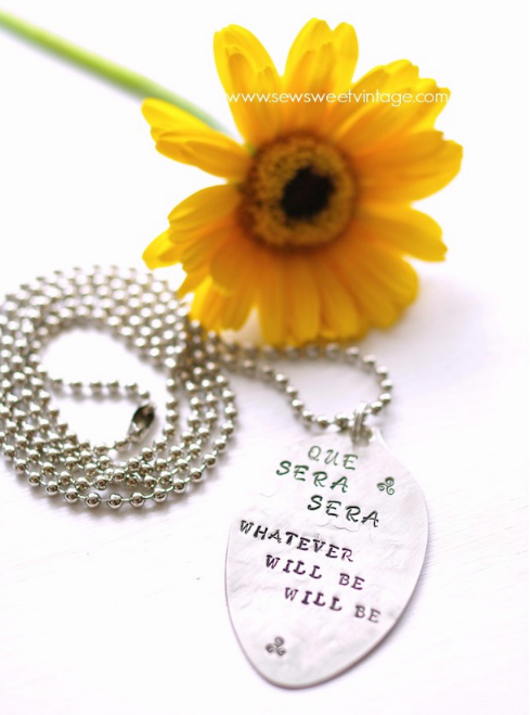 que sera sera song Doris Day Show, spoon pendant and DIY chain