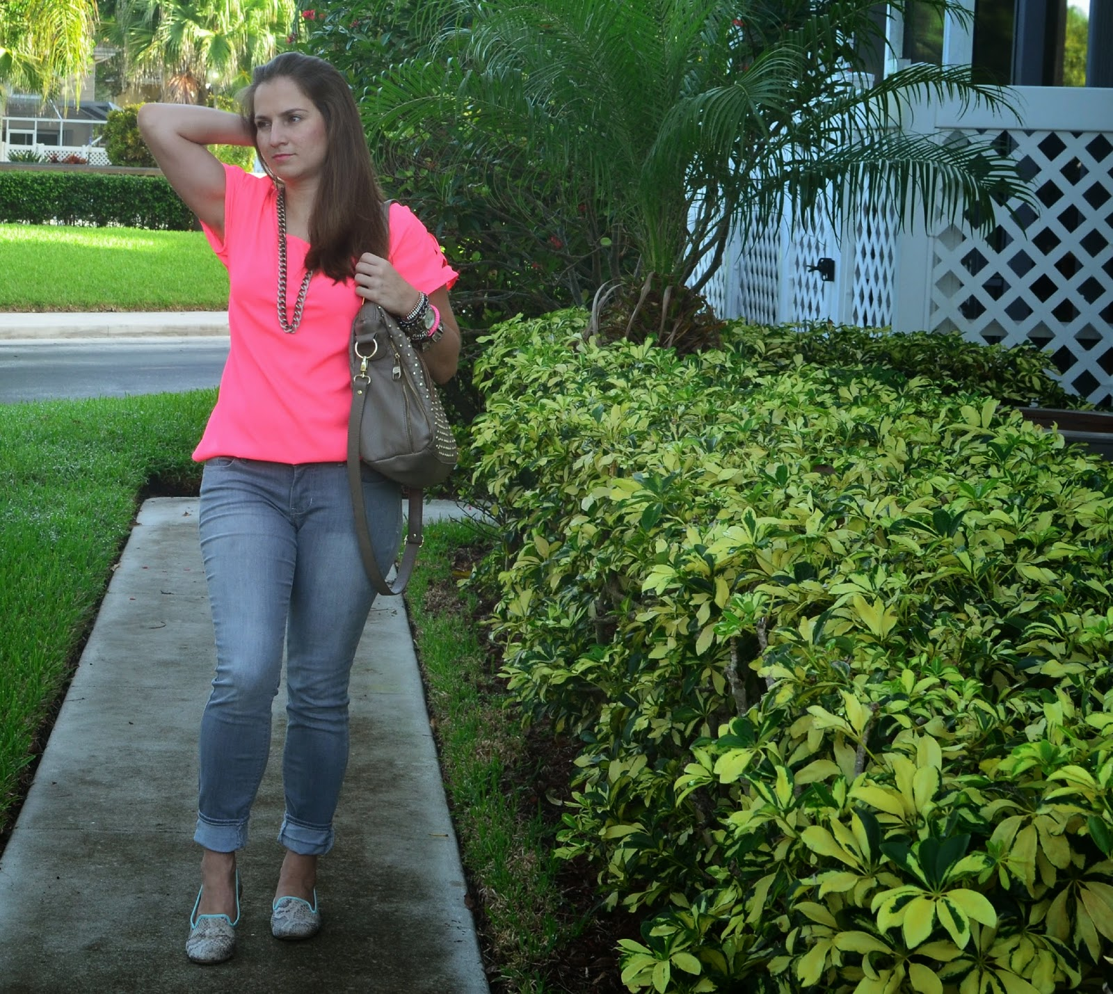 Neon top - Gray jeans - studded bag - printed flats - arm party - Emma & Sophia