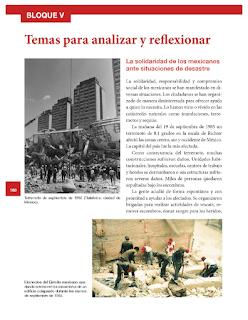 Temas para analizar y reflexionar. La solidaridad de los mexicanos ante situación de desastre - Historia Bloque 5to 2014-2015