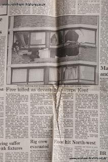 1987 storm hurricane damage to Lambeth tower block, London