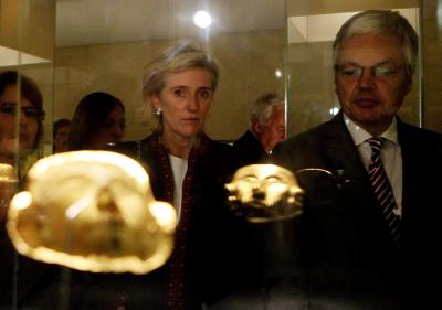 Belgium's Princess Astrid, gestures to the media as she poses for a photo during her visits to the Modern Art Museum