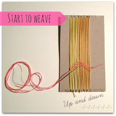 simple weaving on cardboard loom