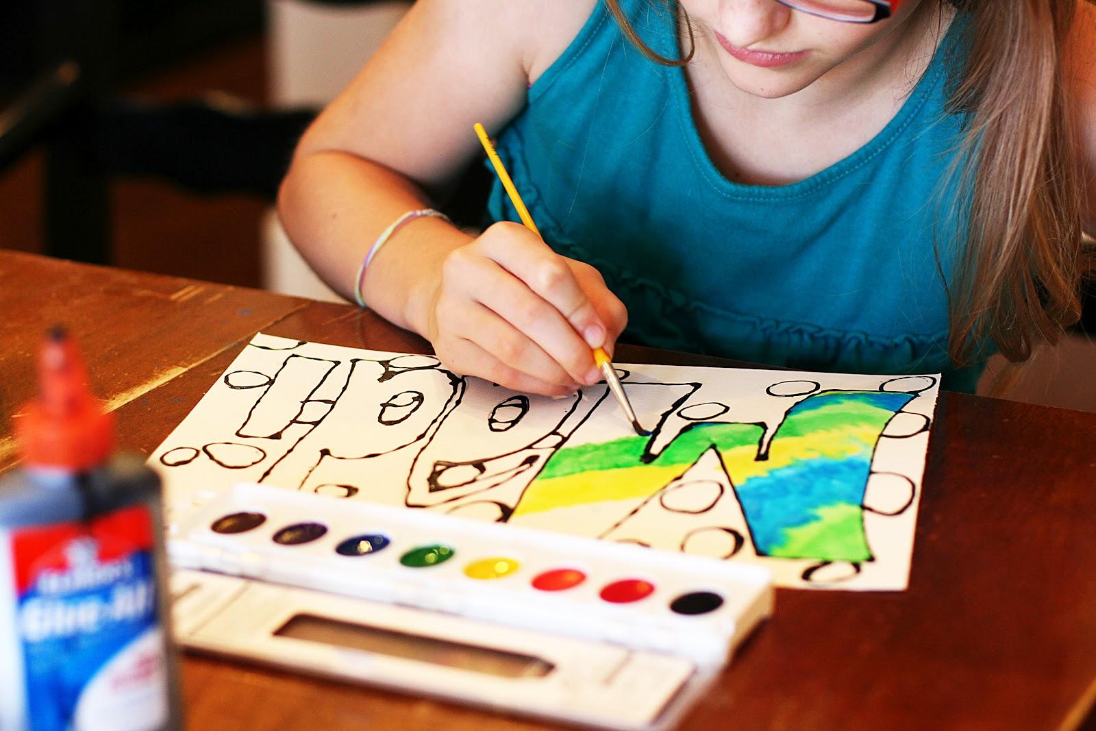 arts crafts watercolor glue art eighteen25. Black Bedroom Furniture Sets. Home Design Ideas