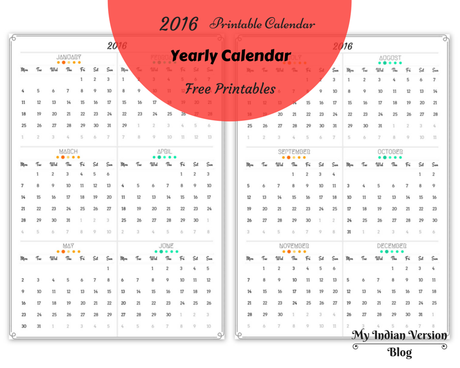 my indian version 2016 yearly and monthly calendar free printables