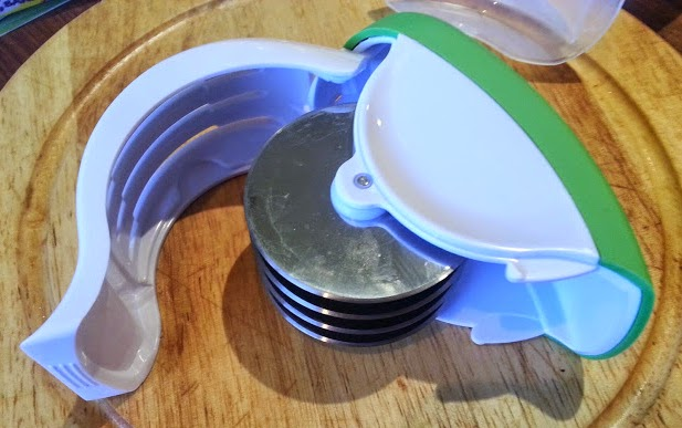 Oxo Good Grips Herb Mincer and blade guard opened for easy cleaning