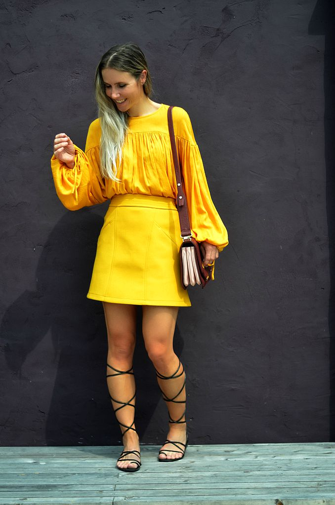 70s yellow skirt gladiator sandals ton sur ton wide sleeves