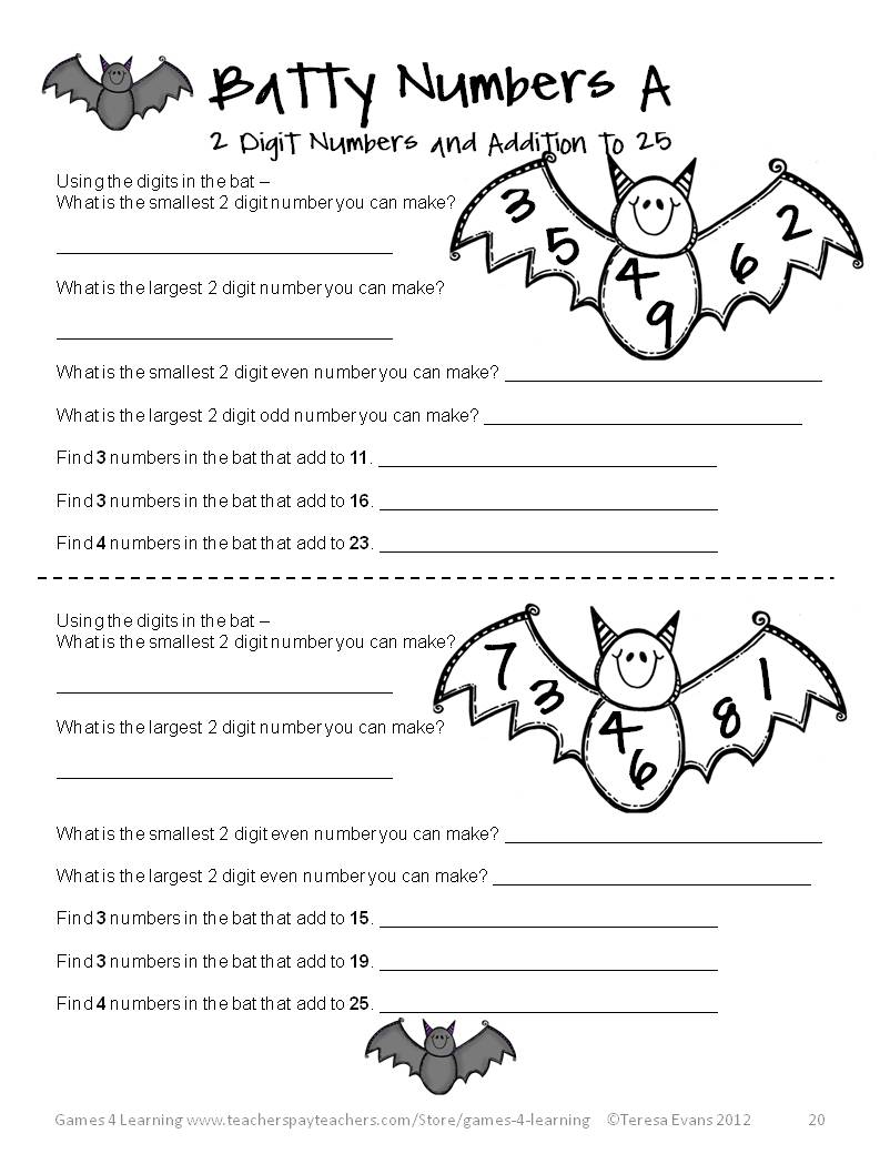 Fun Games 4 Learning Halloween Math Fun – October Math Worksheets